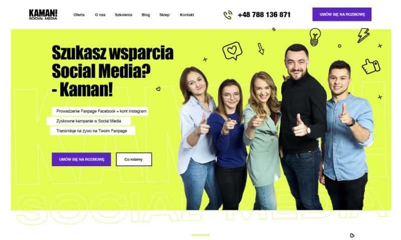 Strona internetowa ze sklepem ecommerce dla Kaman Social Media - Portfolio Two Colours Agency